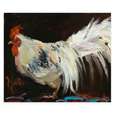 Abstract White Rooster Canvas Wall Art