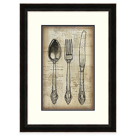 Newspaper utensils silverware framed wall art bed bath for Wall painting utensils