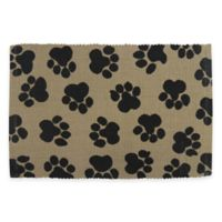 World Paws 19-Inch x 13-Inch Paws Pet Mat in Black/Linen