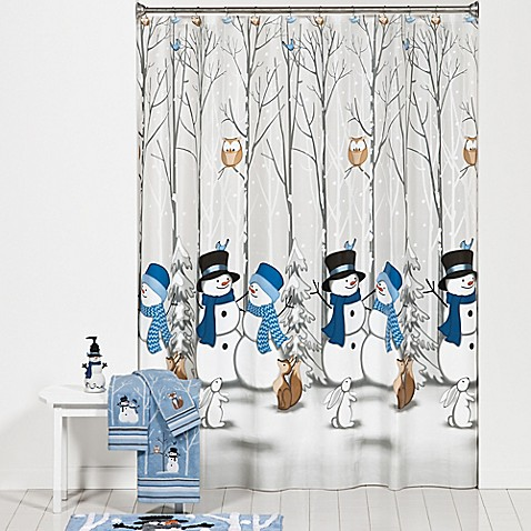 Winter Friends Shower Curtain And Hooks Set Bed Bath