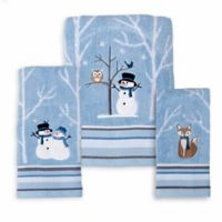 Winter Friends Jacquard Embroidered Bath Towel in Blue