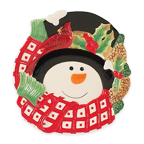 Fitz and floyd holly berry snowman canap plate bed for Fitz and floyd canape plate