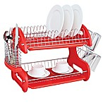Home Basics® 2-Tier Dish Drainer in Red
