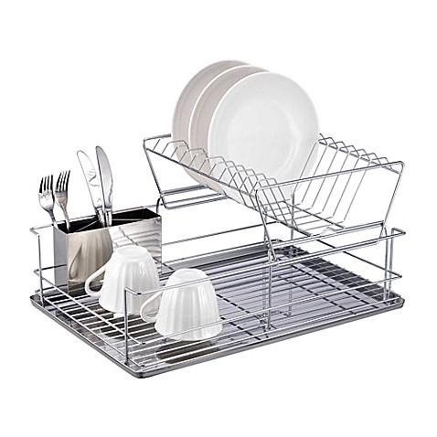 Home Basics 174 2 Tier Dish Drainer Bed Bath Amp Beyond