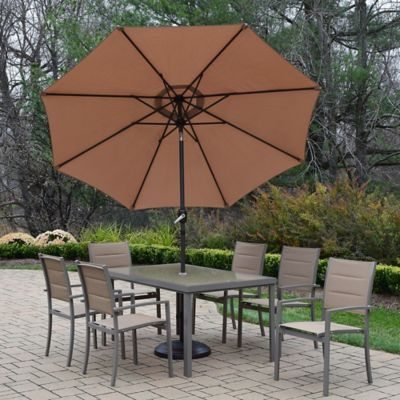 Oakland Living Padded Sling 9 Piece Dining Set With Umbrella And Stand In  Champagne/