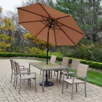 Oakland Living Padded Sling 9-Piece Dining Set with Umbrella and Stand in Champagne/Black