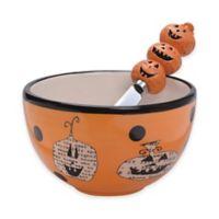 Boston International Pumpkin Toss Bowl and Spreader Set in Orange