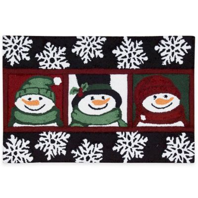 Elegant Nourison 30 Inch X 20 Inch Snowman Handhook Holiday Accent Rug In Black
