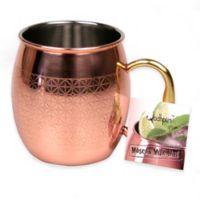 Jodhpuri™ Moscow Mule Etched Diamond Tile Mug in Coppertone Stainless Steel