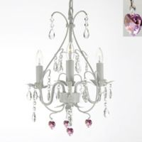 Gallery 3-Light Wrought Iron Pink Hearts Crystal Swag Chandelier in White