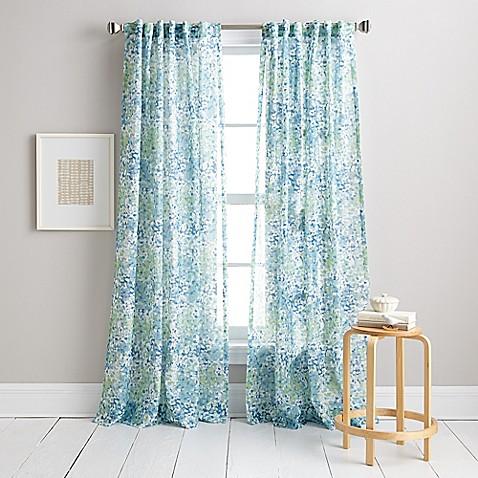 Dkny Modern Botanical Window Curtain Panel In Aqua Bed