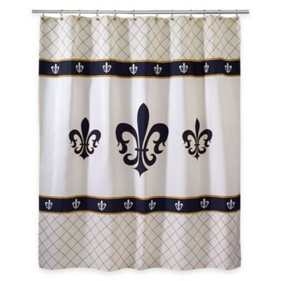 Buy fleur shower curtain from bed bath beyond - Fleur de lis shower curtain hooks ...