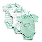Sterling Baby Preemie 3-Pack Print Bodysuits in Mint/Grey/White