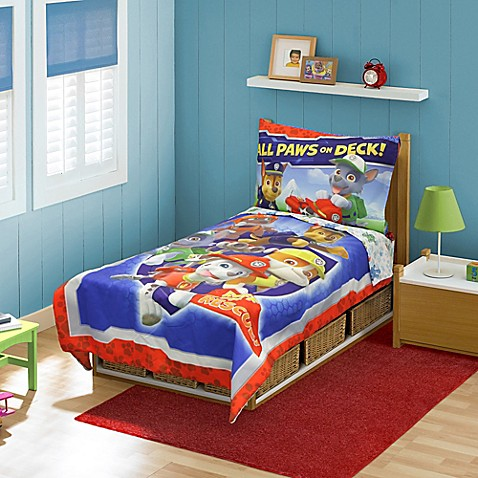 4-Piece Blue Toddler Bedding Set