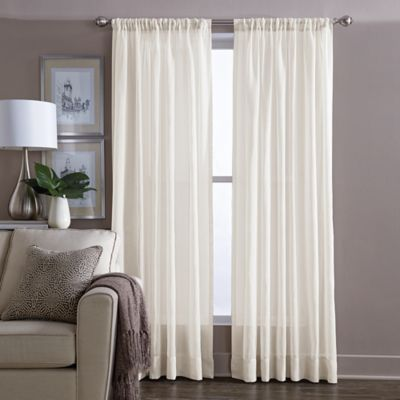 Buy Sheer 95-Inch Window Curtain Panel in Ivory from Bed Bath & Beyond