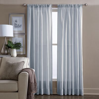 buy sheer 95-inch window curtain panel in blue from bed bath & beyond