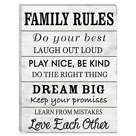 Family Rules Wall Art family rules wood wall art - bed bath & beyond