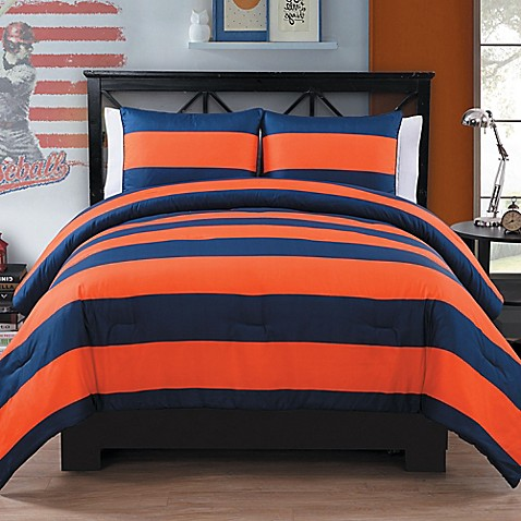 Buy rugby 2 piece twin twin xl comforter set in orange - Blue and orange bedding sets ...