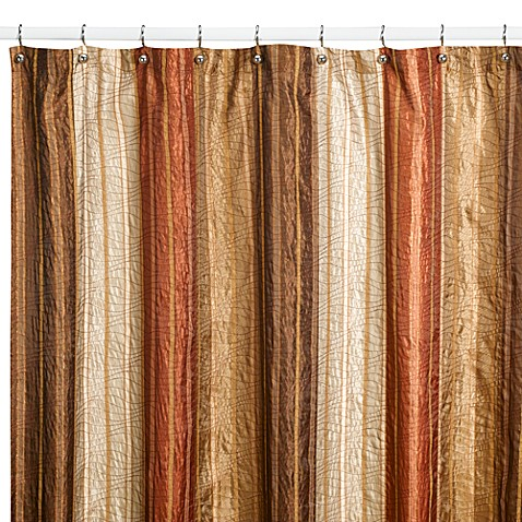 Manor Hill 174 Sierra Copper Fabric Shower Curtain Bed Bath
