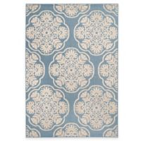 Safavieh Cottage Medallion 5-Foot 3-Inch x 7-Foot 7-Inch Indoor/Outdoor Rug in Light Blue/Beige