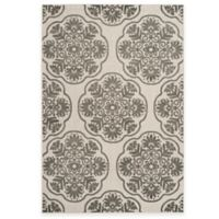 Safavieh Cottage Medallion 6-Foot 7-Inch x 9-Foot 6-Inch Indoor/Outdoor Rug in Grey/Cream