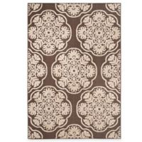 Safavieh Cottage Medallion 6-Foot 7-Inch x 9-Foot 6-Inch Indoor/Outdoor Rug in Brown/Beige