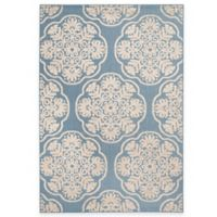 Safavieh Cottage Medallion 6-Foot 7-Inch x 9-Foot 6-Inch Indoor/Outdoor Rug in Light Blue/Beige