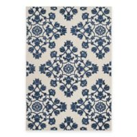 Safavieh Cottage Medallion Damask 5-Foot 3-Inch x 7-Foot 7-Inch Indoor/Outdoor Rug in Cream/Blue