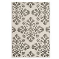 Safavieh Cottage Medallion Damask 5-Foot 3-Inch x 7-Foot 7-Inch Indoor/Outdoor Rug in Cream/Grey