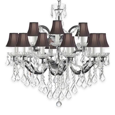 Gallery 19th Century Rococo 18 Light Wrought Iron And Crystal Chandelier With Shades In Black