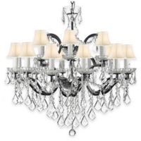 Gallery 19th Century Rococo 18-Light Wrought Iron and Crystal Chandelier with Shades in White