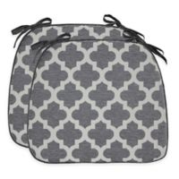 Moroccan Trellis Waterfall Chair Pads in Grey (Set of 2)