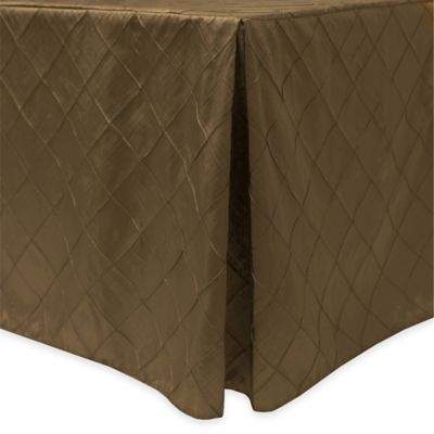 Bombay Diamond Stitched Pintuck Indoor/Outdoor Fitted 6 Foot Tablecloth In  Burnt Gold