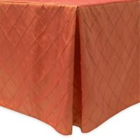 Bombay Diamond-Stitched Pintuck Indoor/Outdoor Fitted 6-Foot Tablecloth in Persimmon