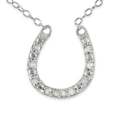 Sterling Silver .10 cttw Diamond 18-Inch Chain Horseshoe Pendant Necklace