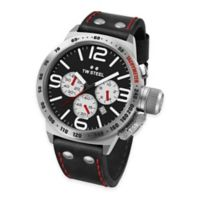 TW Steel Unisex 45mm Canteen Chronograph Watch in Brushed Stainless Steel with Black Leather Strap