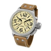 TW Steel Unisex 45mm Canteen Chronograph Watch in Stainless Steel with Beige Dial and Brown Strap