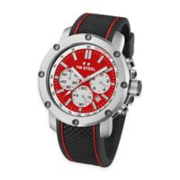 TW Steel Men's 48mm Grandeur Tech Chronograph Watch in Stainless Steel with Red Dial and Black Strap