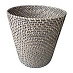 Baum Meredith Hapao Rattan Wastebasket in Grey