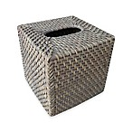 Baum Meredith Hapao Rattan Boutique Tissue Box Cover in Grey