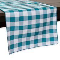 Gingham Poly Check 72-Inch Table Runner in Teal/White