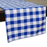 Gingham Poly Check 54-Inch Table Runner in Royal/White