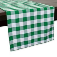 Gingham Poly Check 72-Inch Table Runner in Moss/White