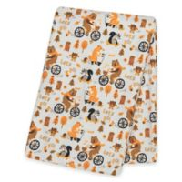 """Trend Lab® """"Let's Go"""" Deluxe Flannel Swaddle Blanket in Orange"""