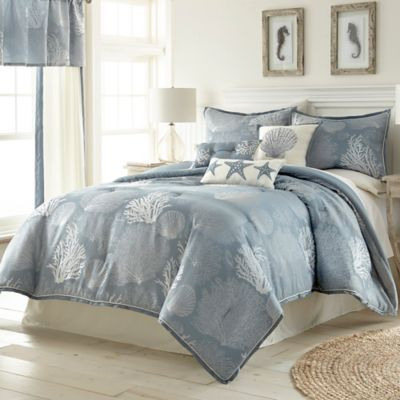 bedding pc more set blue com w comforter coastal n beddingnmore seashell front bed shores seahorse starfish