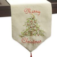 """Ribboned 120-Inch """"Merry Christmas"""" Tree Runner in Natural"""