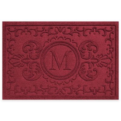 weather guard baroque 23inch x 35inch door mat in red