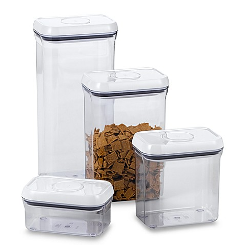 Oxo good grips rectangular food storage pop container for Bathroom containers with lids