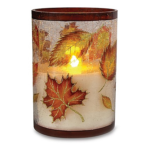 Loft Living Glass Flameless Led Harvest Pillar Candle With