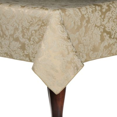 Miranda Damask 54 Inch Square Tablecloth In Champagne